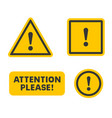 attention sign set on white background vector image vector image