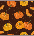 autumn seamless pattern with pumpkins trendy vector image