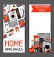 Banners with home appliances household items for