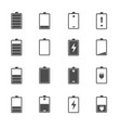 battery charge level icons set vector image vector image