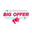 big offer labels speech bubbles with megaphone vector image vector image