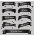 black funeral ribbon banners set with text eps10 vector image vector image