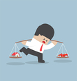 Businessman carrying house and car on his shoulder vector image vector image