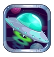 Cartoon app icon with flying ufo ship vector image vector image