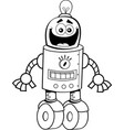cartoon happy robot with wheels for feet vector image vector image