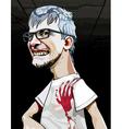 cartoon mad man maniac in glasses vector image vector image