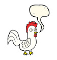 cartoon rooster with speech bubble vector image vector image