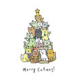 christmas tree with cats vector image vector image