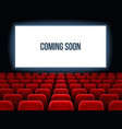cinema hall movie interior with coming soon text vector image vector image