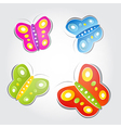 Colorful butterflies made of paper on light grey vector image