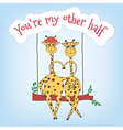Couple of giraffes on a swing and the inscription vector image vector image