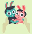 Cute Bunny Couple Hugging on Sofa vector image vector image