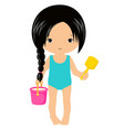 cute little girl with bucket sand vector image