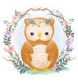 cute watercolor baby owl vector image