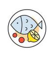 dish of fish lemon chinese food gastronomy set vector image vector image