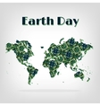 Earth Day card decorative map with shadow vector image