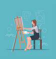 female painter using paintbrush and palette woman vector image vector image