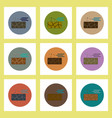 flat icons set of cracked earth and wind concept vector image vector image