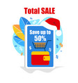 giant smartphone with santa hat on top total sale vector image vector image