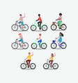 group of people on bicycle vector image vector image