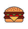 Hamburger icon with meat lettuce cheese and vector image vector image