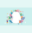 happy easter miniature people vector image