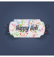 Happy Holi Banner with Ribbon and Stains of Paint vector image