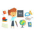 happy teacher standing next to a blackboard set vector image vector image