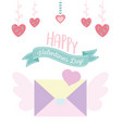 happy valentines day envelope message with wings vector image