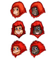 Heads of chimpanzees vector image