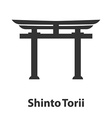 Icon of Shinto symbol Torii religion sign vector image