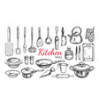 kitchen utensil tools set 1 vector image