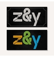 letter Z and Y logo alphabet chalk icon set vector image