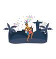 man celebrating brazil carnival vector image vector image