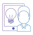 man with tablet electronic and bulb vector image vector image