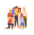 members big happy family standing together vector image vector image