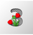 paper cut number 3 with poppy flowers vector image vector image