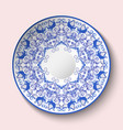 patterned plate with blue ornament with birds and vector image