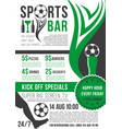 poster for soccer bar or football pub vector image vector image