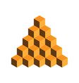 pyramid of gold cubes 3d vector image vector image