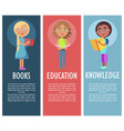 reading book gives new knowledge and education vector image vector image