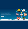 rocket flying and people recruitment in startup vector image