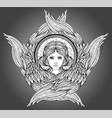 seraph six winged angel isolated hand drawn vector image vector image
