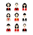 Set of asian woman icons for your design vector image