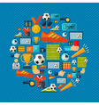 Soccer icons set shape circle vector image
