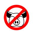 Stop pork Prohibited animal meat Crossed-out pig vector image