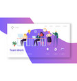 team work landing page creative process concept vector image vector image