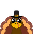 thanksgiving cartoon turkey stands on a white vector image
