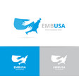 usa and hands logo combination america vector image vector image