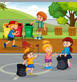 volunteer children cleaning park vector image